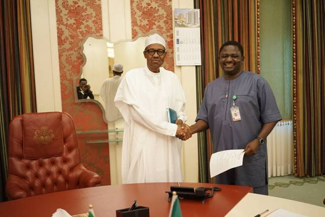 Image result for Photos of femi adesina and buhari