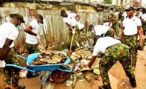 From Ikeja to Ikoyi, soldiers clean up Lagos