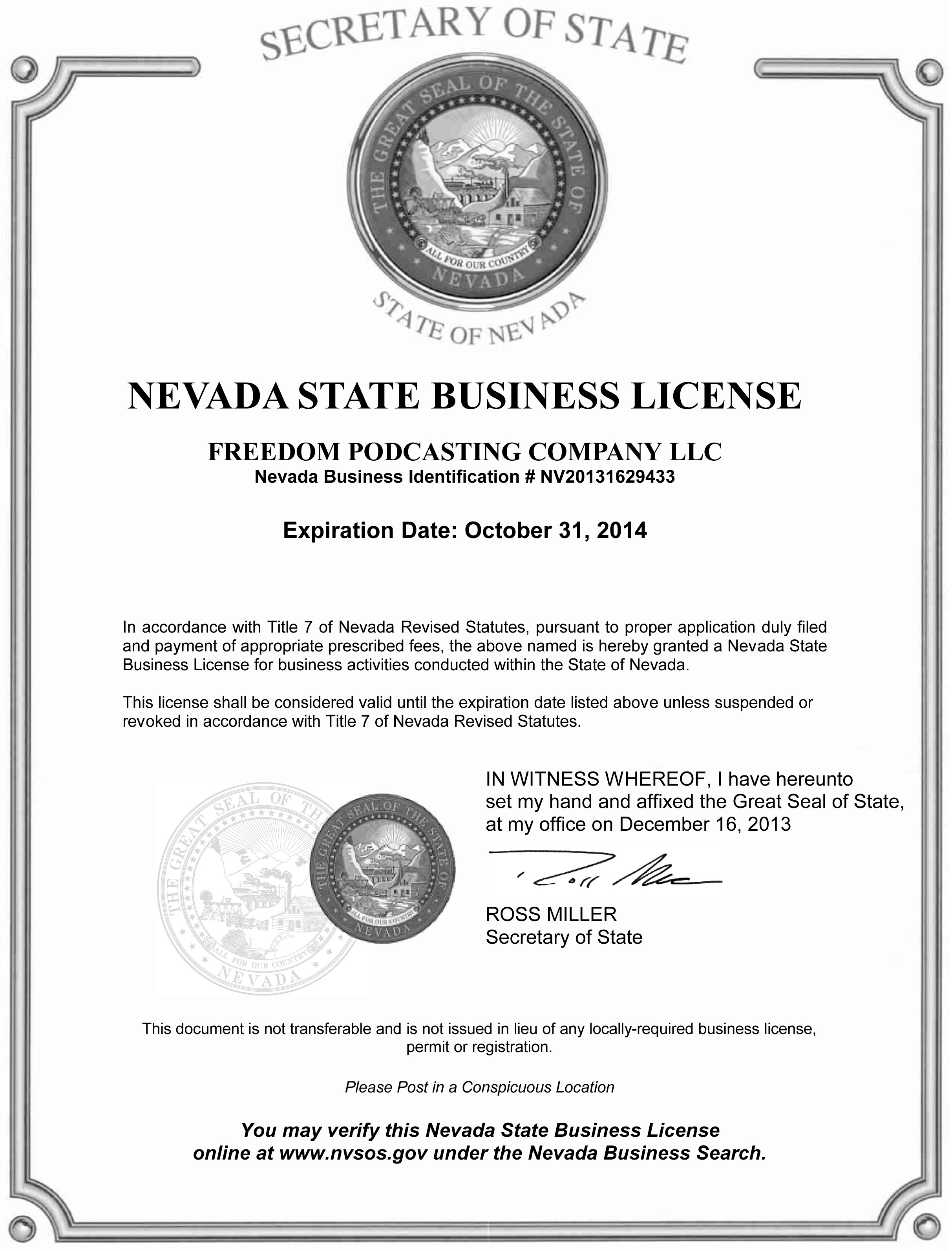 Nevada State Podcasting Business Certificate -