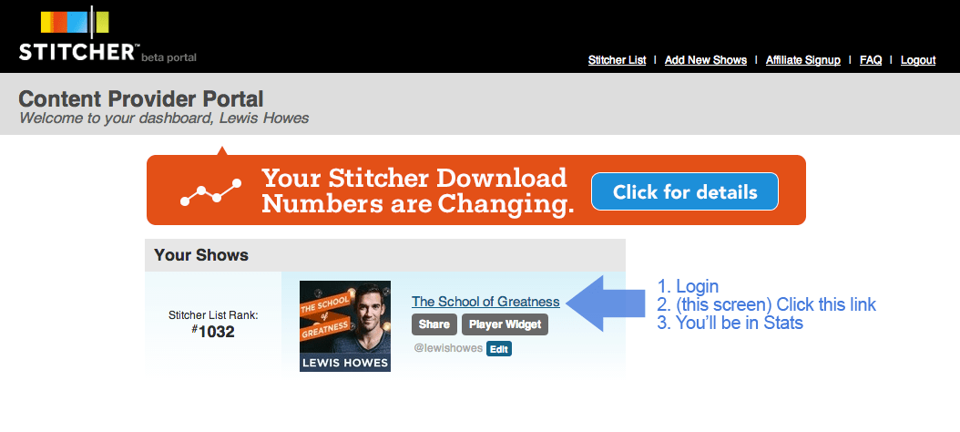 How to Login and Check Stitcher Stats