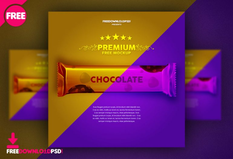 Chocolate wrapper free mockup