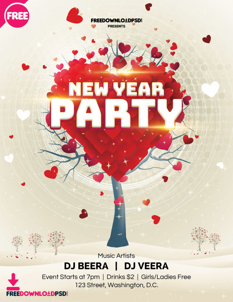 New Year Flyer, New Years Eve Templates Free, New Years Eve Party Poster  Templates