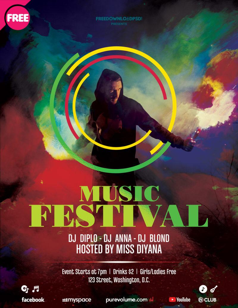 Music Festival Flyer, Music Festival Flyer Template, Music Festival Poster  Template Free, Music