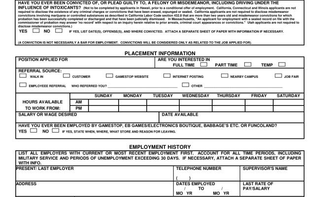 Download Gamestop Job Application Form Careers Pdf