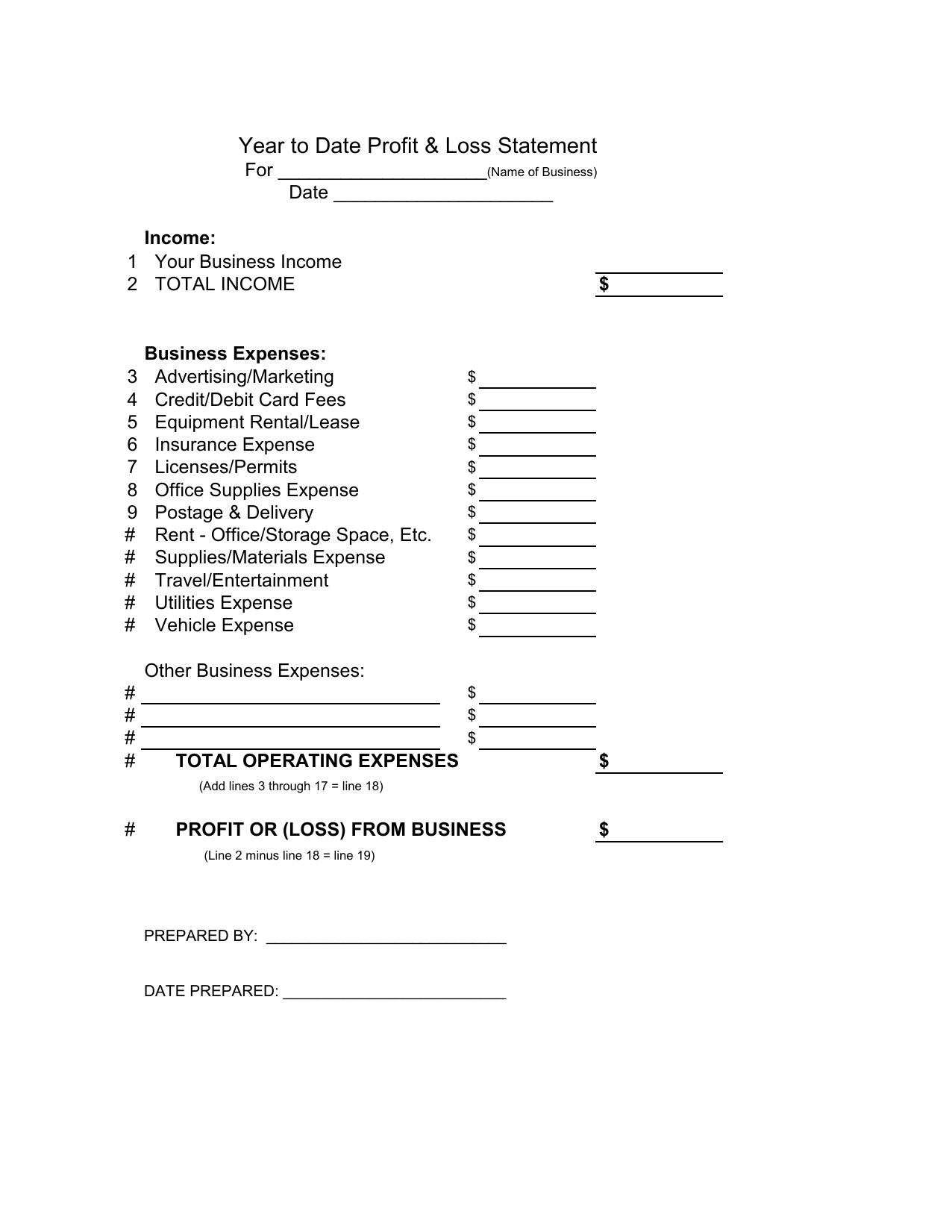 Download Profit And Loss Balance Sheet Template