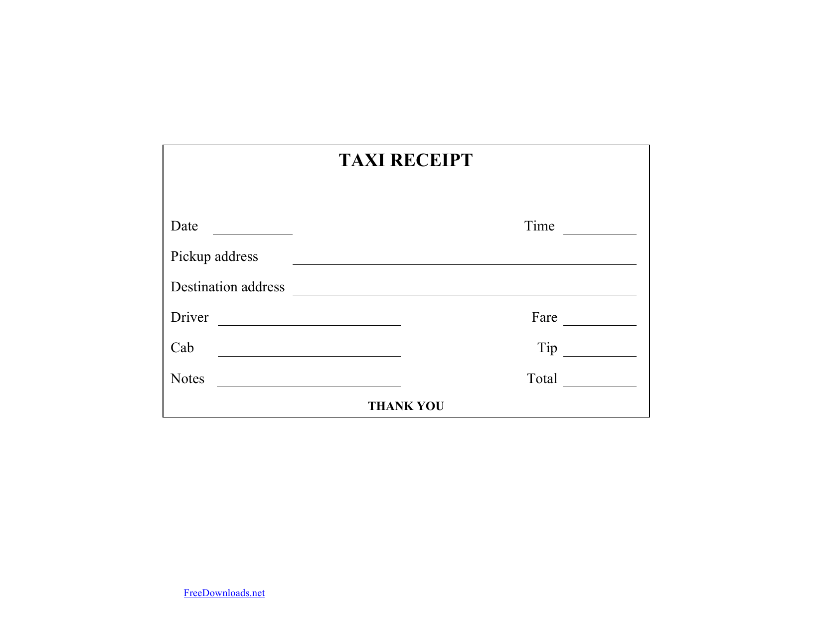 Download Blank Printable Taxi/Cab Receipt Template