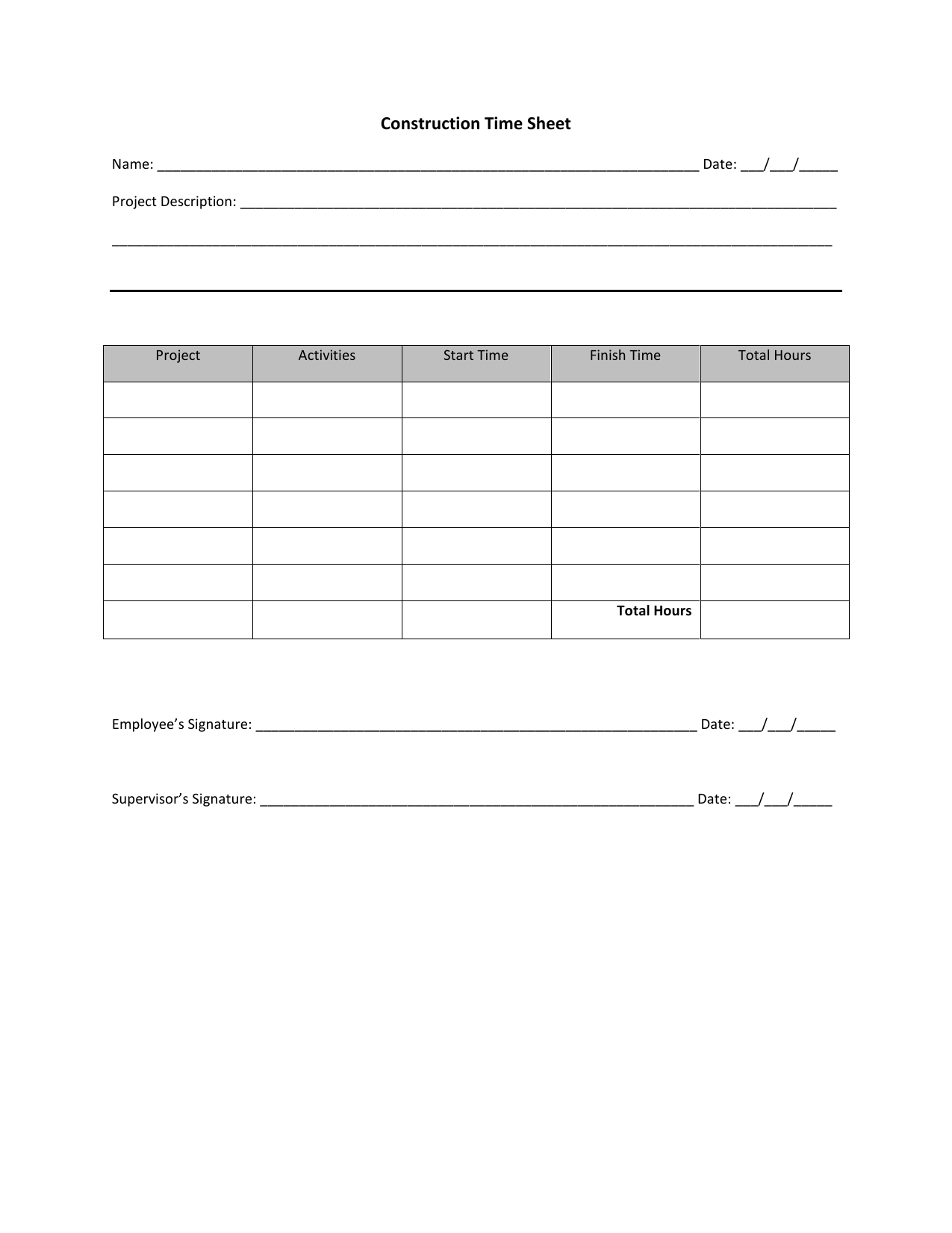 Download Construction Timesheet Template