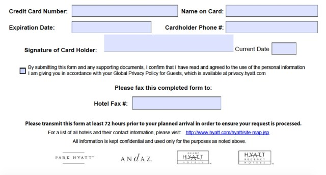 hotel credit card authorization form   Applydocoument co