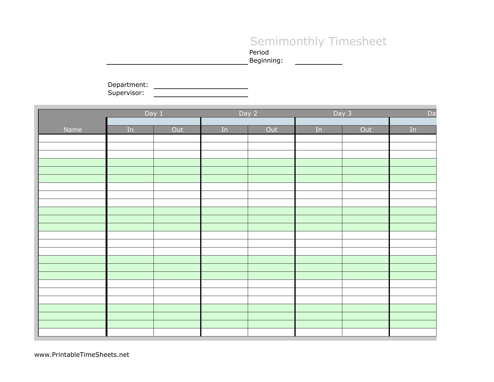 Download Semi Month Timesheet Template