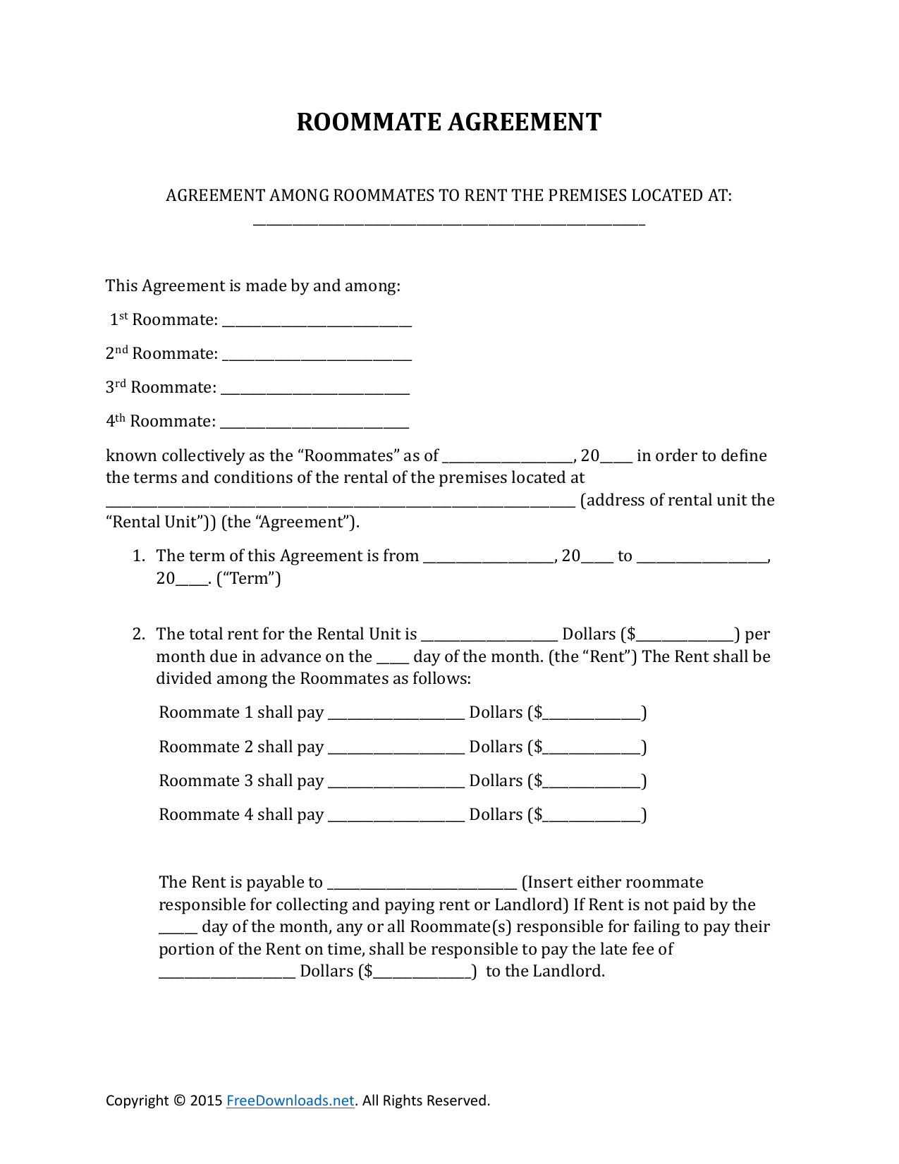 Roommate Rental Lease Agreement Form