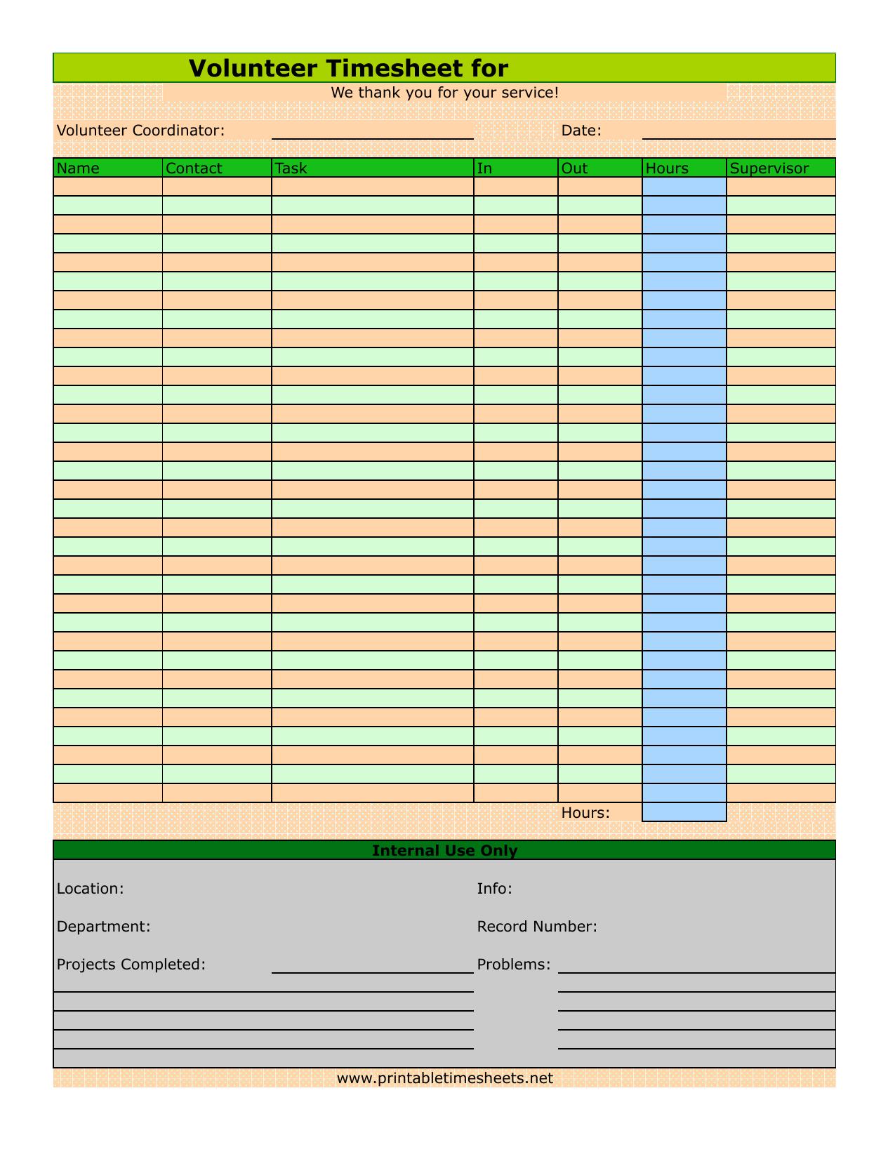 Download Volunteer Timesheet Template | Excel | PDF | RTF | Word ...