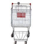A shopping trolley on a white background.