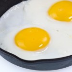2 eggs in a frying pan.