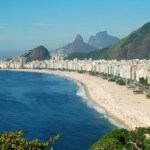 A photo of Copacabana beach and the surrounding city.