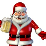 A 3D image of Santa holding a full beer stein.
