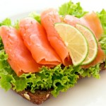 Some smoked salmon and cress on a slice of wholemeal bread.