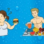 A male and female cartoon with food on a blue background.