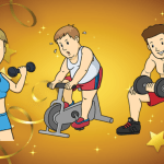 Three cartoon characters working out on a golden background.