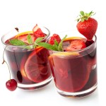 Two glasses of fruit sangria.