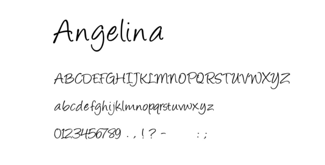 schriftart angelina