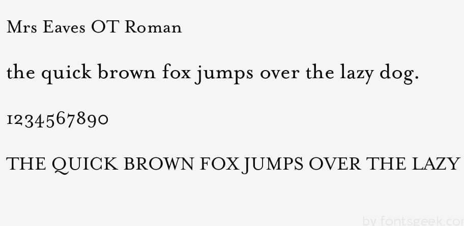 Mrs Eaves Ot Roman Font Free Download