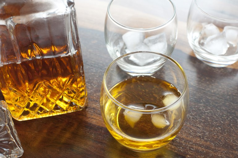 Scotch whiskey on the rocks  Free Stock Image