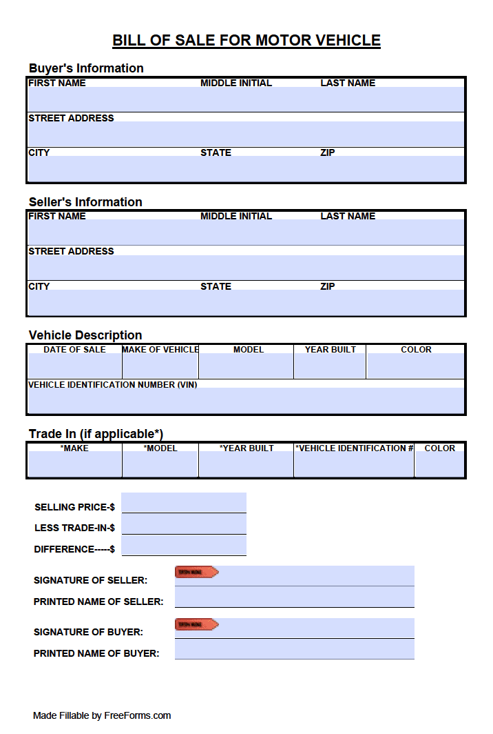 form for bill of sale of vehicle