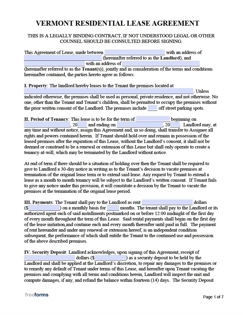 Free Vermont Rental Lease Agreement Templates | PDF | WORD