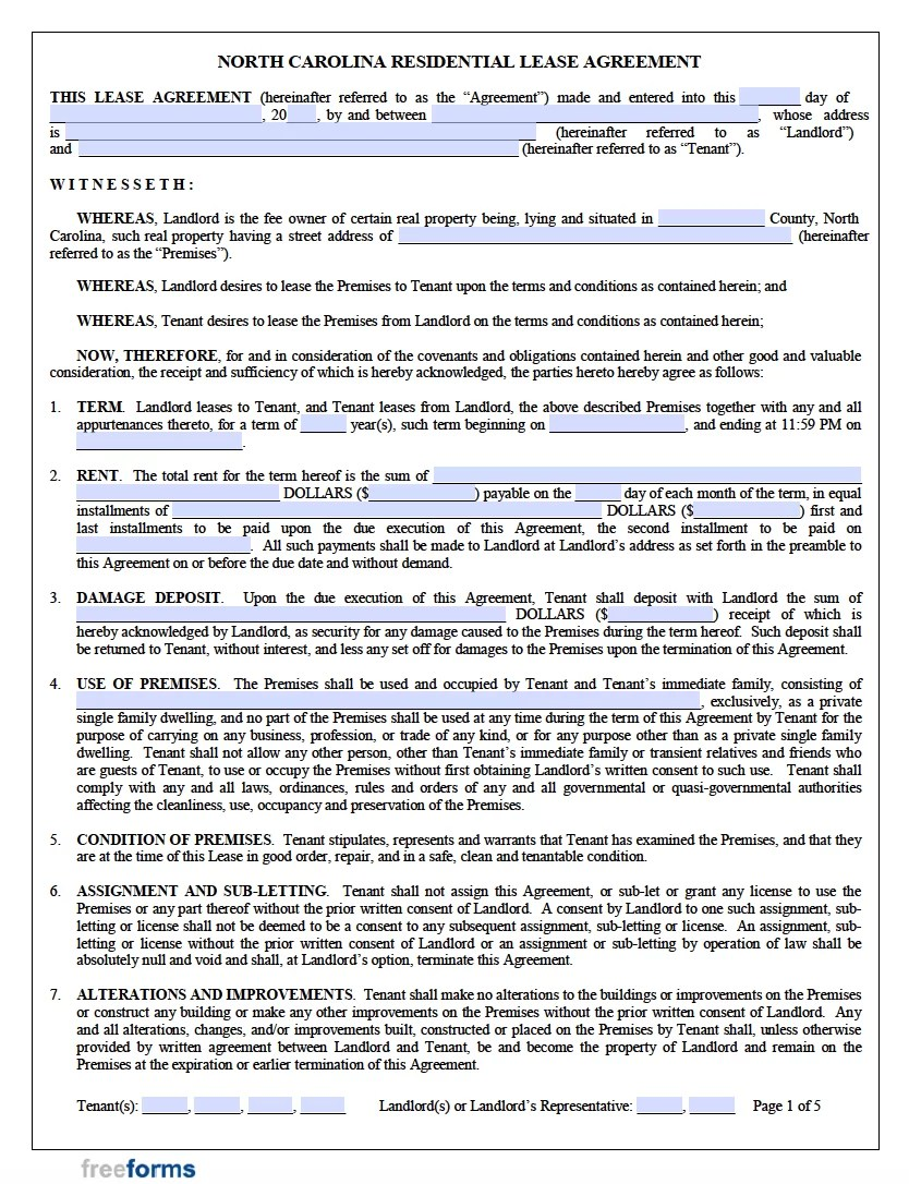 You may use a tenancy agreement if you are leasing a house, flat, house share, flat share, or room to, or from, another party. Free North Carolina Rental Lease Agreement Templates Pdf