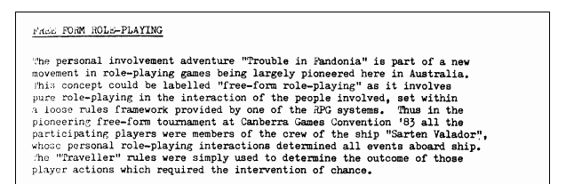 """This is an excerpt from the """"Arcanacon 1983"""" booklet. Arcanacon is an annual convention that runs in Melbourne, Australia."""