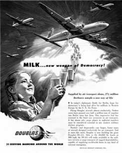 """""""Milk... New Weapon of Democracy"""" ad from the 1940s. (public domain)"""