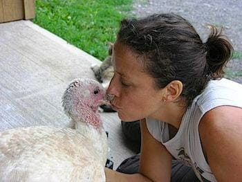 Jenny Brown of Woodstock Farm Animal Sanctuary kissing Beatrice the turkey, who regularly communicates her wish for affection.