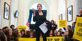 Alexandria Ocasio-Cortez speaks to green new deal activists