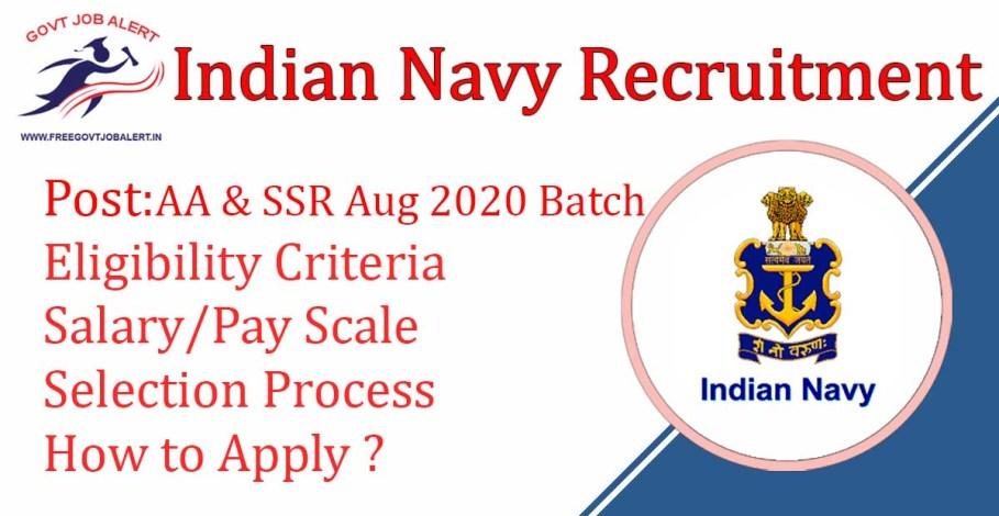 Indian Navy SSR AA recruitment Indian Navy AA & SSR Aug 2020 Batch