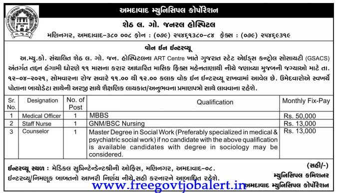 (Walk in) AMC Recruitment 2021 - Medical Officer, Staff Nurse & Other Post