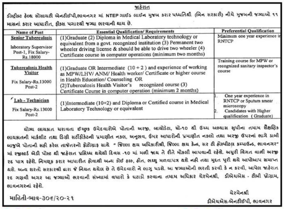 DHS, Bhavnagar Recruitment 2020 - Senior Tuberculosis, Lab-Technician & Other