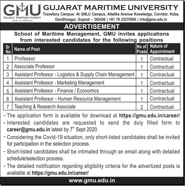 GMU 08 Teaching Post Recruitment 2020 Newspaper Adrvt