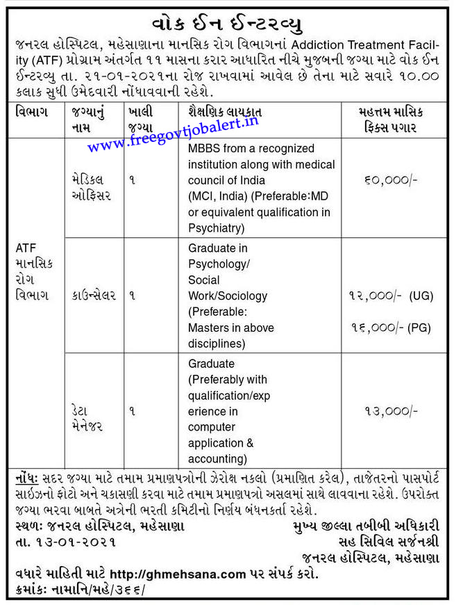 General Hospital Mehsana Recruitment 2021 Medical Officer, Counselor & Data Manager Posts