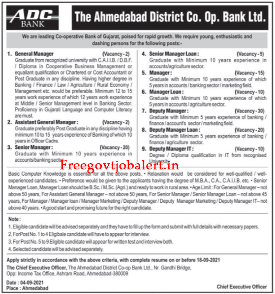 Ahmedabad District Co.op. Bank Ltd Recruitment 2021 - 114 Office Assistant, Manager & Other Vacancy