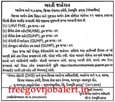 NHM Devbhumi Dwarka Recruitment 2021 - 11 FHW, COPA & Other Posts