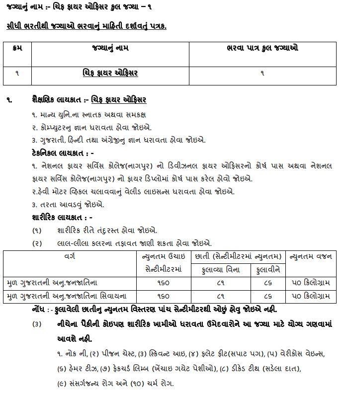JMC (Junagadh) Chief Fire Officer Recruitment Eligibility Criteria