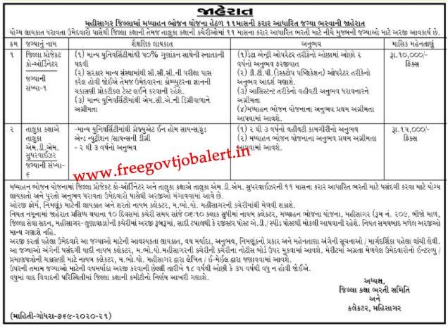 MDM Mahisagar Recruitment 2021 -7-Coordinator, MDM Supervisor Jobs