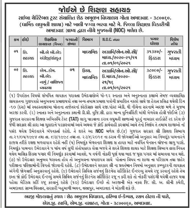 Sheth Amulakh Vidhyalay Gota Recruitment 2021 Shikshan Sahayak Posts