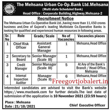 MUC Bank Recruitment 2021 -Company Secretary & Other Posts