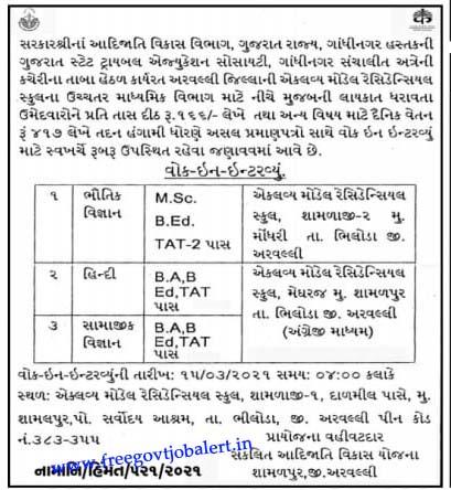 Eklavya Model Residential School, Aravalli Recruitment 2021 - Teacher Vacancy