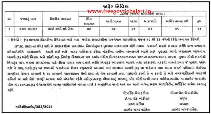Jhalod Nagarpalika Recruitment 2021 - 17 Safai Kamdar Posts