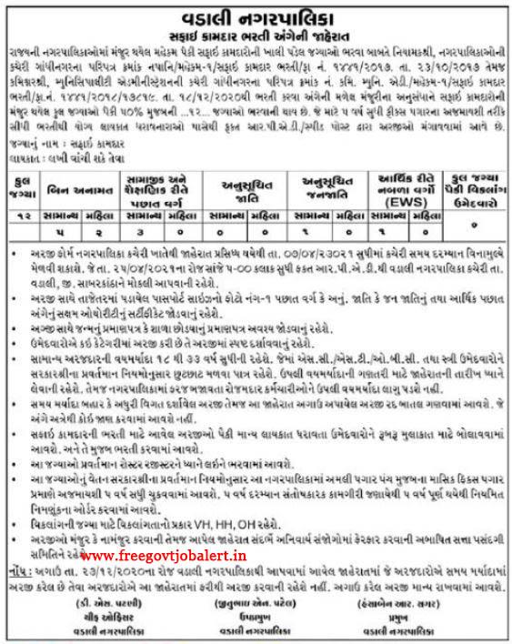 Vadali Nagarpalika Recruitment 2021 - 12 Safai Kamdar Posts
