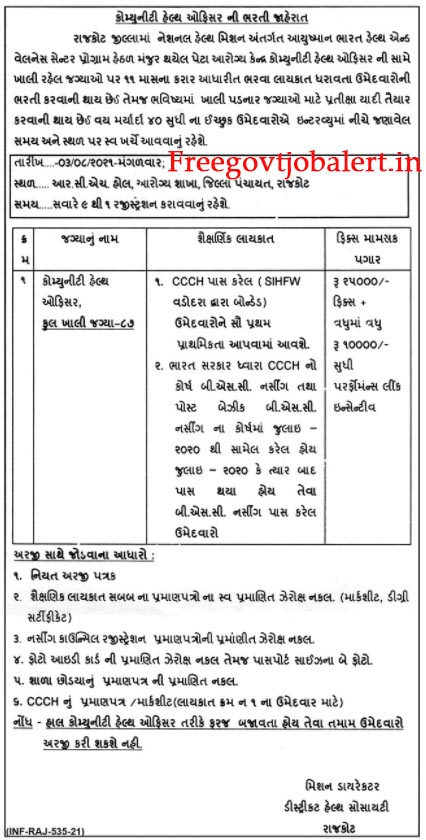 District Health Society Rajkot Recruitment 2021 - 87 CHO Vacancy