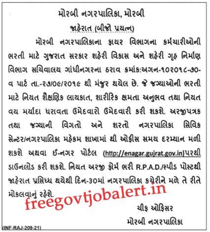 Morbi Nagarpalika Recruitment 2021 For 19 Fire Officer Posts
