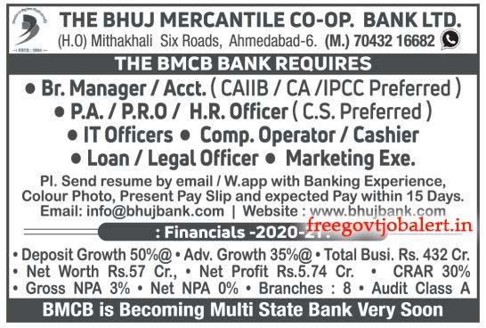 The Bhuj Mercantile Co-op Bank Ltd. Recruitment 2021 For Various Vacancy